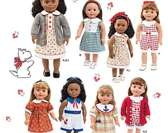 "Simplicity Pattern 1443, Summer wardrobe, 18"" AG doll clothes, cardigan, 4 style dresses, w/collars, sailor dress, rompers, headband, UN-CUT"