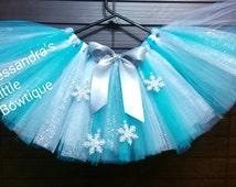 Frozen Elsa tutu skirt, frozen tutu, girls frozen inspired birthday outfit,turquoise tutus, silver and turquoise tutu, queen Elsa tutu