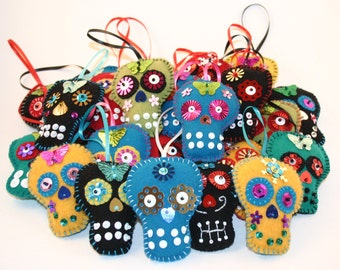 Downloadable PDF Pattern for Day of the Dead Ornaments