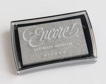 Silver Stamp Ink Pad, Ultimate Metallic, Encore Tsukineko, Metallic Silver Ink