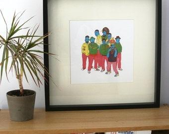Hip Hop Illustration, 30x30cm Print