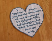 Heart Quilt Label. Embroidered Quilt label. Monogrammed Quilt, Custom Quilt label. Quilt Square.  Quilt Gift. Personalized Quilt Label.  F23