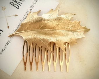 Oak Leaf Hair Comb Gold Oak Leaf Hair Comb Leaf Wedding Hair Bridal Hair Comb Bridal Headpiece Wedding Accessories Garden Weddings Woodland