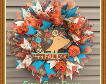 Happy Fall Y'all Deco Mesh Fall Wreath with HedgeHog