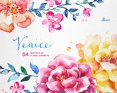 Venice. 54 Watercolor floral Elements, popies, roses, wedding invitation, greetings card, diy clip art, flowers, blue pink, clipart