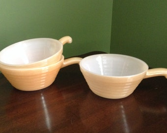 Vintage Fire King Handled Bowls - Beehive Soup Bowls - Set of Three