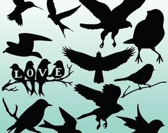 12 Bird Silhouette Digital Clipart Images, Clipart Design Elements, Instant Download, Black Silhouette Clip art