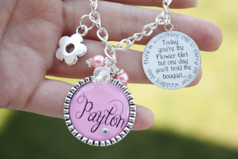 Flower Girl Gift Personalized Charm Bracelet unique keepsake