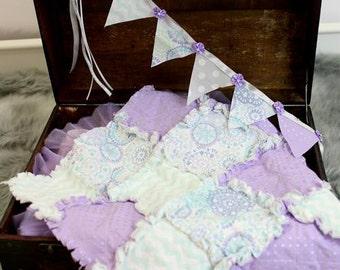 Mini Rag Quilt Squares Lavender/Aqua