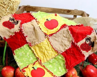 Mini Rag Quilt Squares Apples