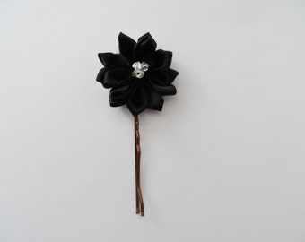Black Flower And Crystal Handmade Hair Pins