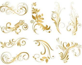 GOLD Digital Flower Flourish Swirl Clip Art Flourish Swirls ClipArt Digital Scrapbooking Embellishments Decor Wedding Invitation DIY 0088