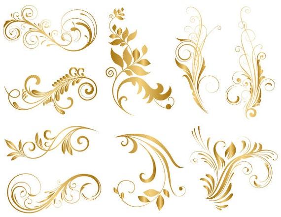GOLD Digital Flower Flourish Swirl Clip Art Flourish Swirls