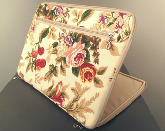 Laptop Sleeve,Macbook Pro 13.3,Floral Beige,Roses, Laptop 14 inch,macbook 13 case,macbook 13.3 sleeve,floral sleeve,beige case,pocket,mac 13