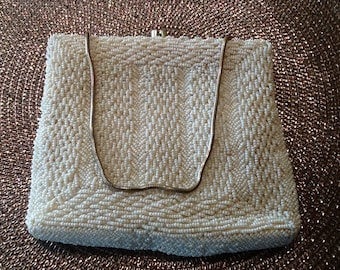 Heavily Beaded Off-White Purse
