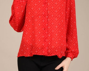 Ditsy geo print button-down blouse