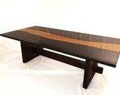 Live edge wood & concrete coffee table: concrete, osage orange wood, black walnut base.