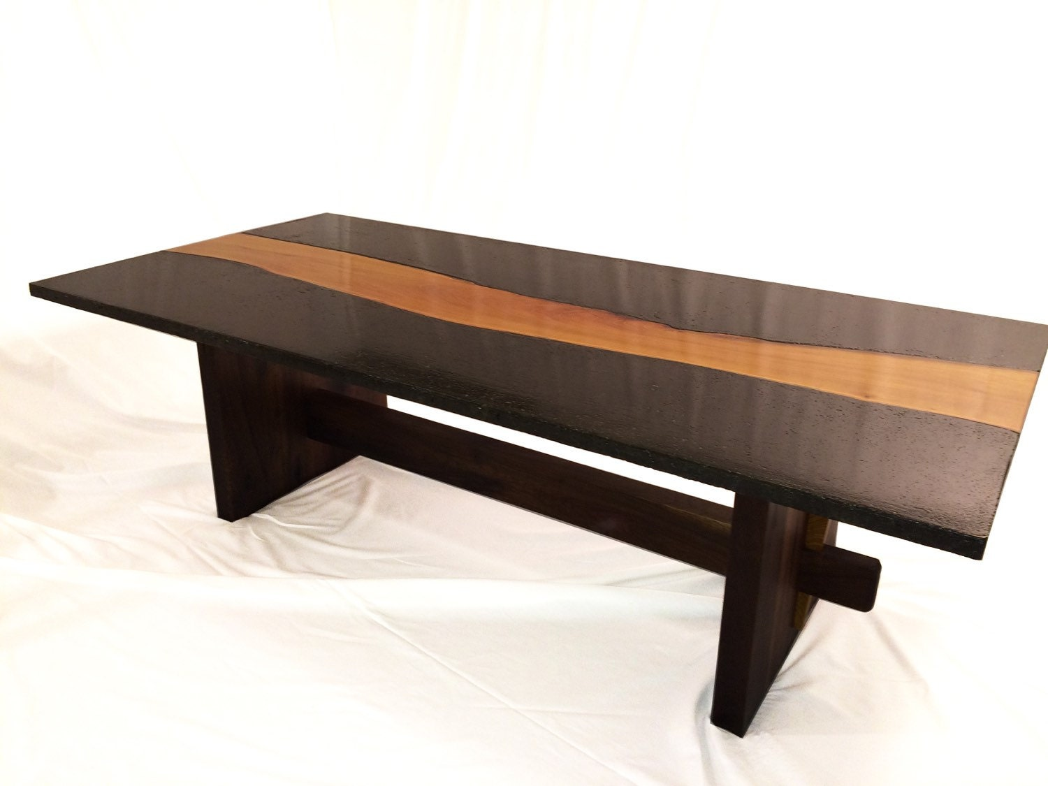 Live edge wood concrete coffee table concrete osage orange Live wood coffee table
