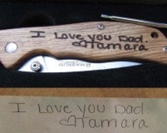 Laser Engraved Pocket Knife, Your Handwriting Engraved, Father of Bride Gift, Personalized Knife, Groomsmen Gift, Anniversary Gift, Dad Gift