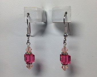 Pink/Peach Swarovski Crystal Earrings -SCD050