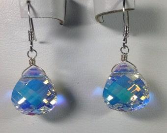 Swarovski Crystal Iridescent Teardrop Earrings -SCD021