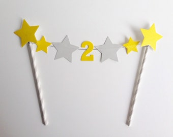 Birthday Bunting Personalised Number Cake Topper Yellow and Grey