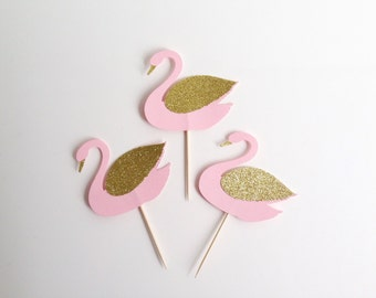 Swan Girls Birthday Party Pink and Gold Glitter Cupcake Toppers
