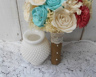Shade of Coral and Mint, wedding bouquet, bridal bouquet