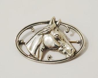 Sterling 3D Horse vintage Brooch.