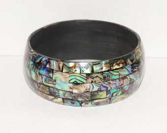 Abalone Shell inlaid vintage Cuff Bracelet.