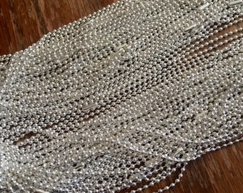 """Silver BALL CHAINS 2.4 mm 24"""" Silver Plated finished chain for necklace supplies Lot of 15"""