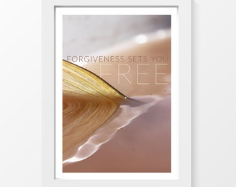 Forgiveness sets you free / Fish fin water quote forgiveness printable art wall art home decor downloadable art to print yourself