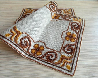 Vintage Swedish Table Runner Embroidery with Flowers Doily Cross Stitch Brown Yellow Embroidered Table Runner Scandinavian Needlework