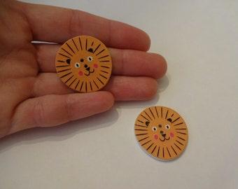 2 pcs big lion heads wooden buttons 29x28x2.5mm scrapbook children crafts two holes