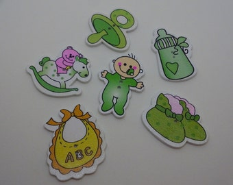 6 pcs new baby wooden buttons green scrapbook children crafts two holes