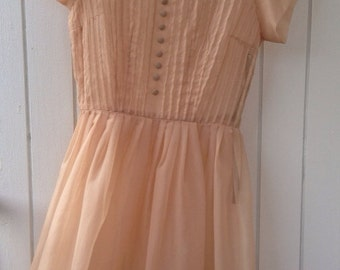 Vintage 1950's Sheer Peach party dress