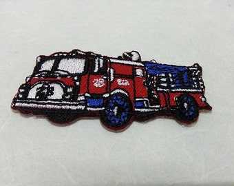 Fire Engine Iron on patch (S) 5.5 x 2.8 cm - Fire Engine Applique Embroidered Iron on Patch # 1