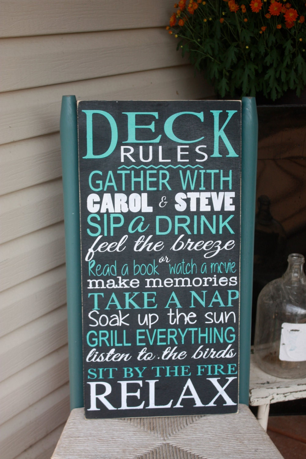 Deck sign outdoor decor deck rules wooden sign for Landscape decor