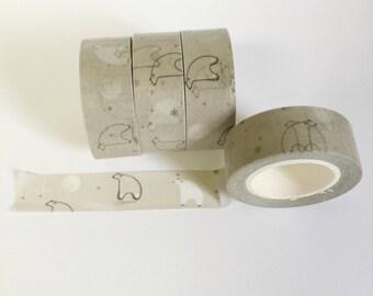 Washi Tape Pollar Bear  Washi Tape Bear Print Gray Washi Tape 15mm / 10 Yards