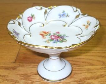 East German Porcelain Floral Candy Dish