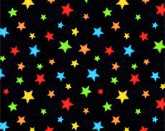 Starfall Black Fabric - Blue / green / Yellow  Stars / 1 Yard, 1/2 Yard and Fat Quarter cuts / Wilmington Prints  39078