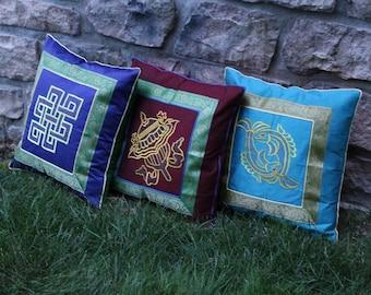 Silk Tibetan Lucky Signs Pillow Covers Made By Tibetan Refugees.