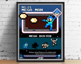 Mega Man poster, Nintendo art, video game poster, classic game print, pixel art, Mega Man, kids room poster, game room art