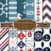 Nautical Digital Paper Navy Blue And Red Nautical Background Chevron Anchor Stripes Geometric Marine paper pack 12x12 Buy 2 Get 1 FREE
