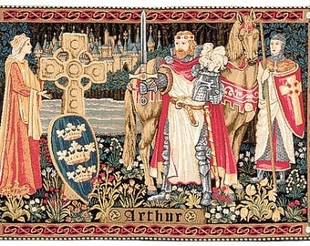 belgian gobelin wall tapestry hanging King Arthur and Lady Guinevere jacquard woven