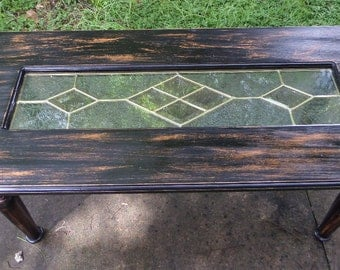 Distressed Wood Coffee Table with Frosted Stained Glass Insert