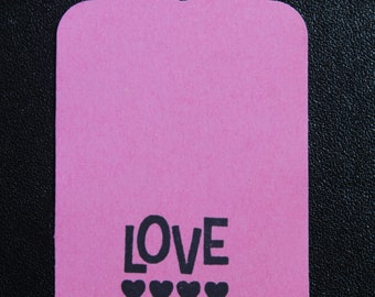 Valentine's Tags, Wedding Favor Tags, Love Tags, Heart Tags - Your Choice of Color Tag