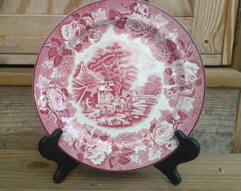 Enoch Woods, English Scenery, Woods & Sons England, Pink Transferware, 10 inch Plate
