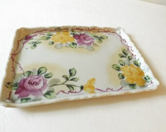 Ceramic Floral Tray - Made in Japan