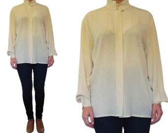 90's ESCADA Cream Blouse, Escada Vintage Blouse, Escada Silk Blouse, Off White Long Sleeve Blouse, Vtg Escada